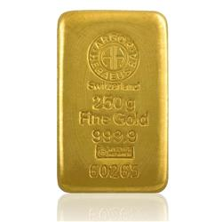 250 g gold bar (Argor Heraeus Swiss)