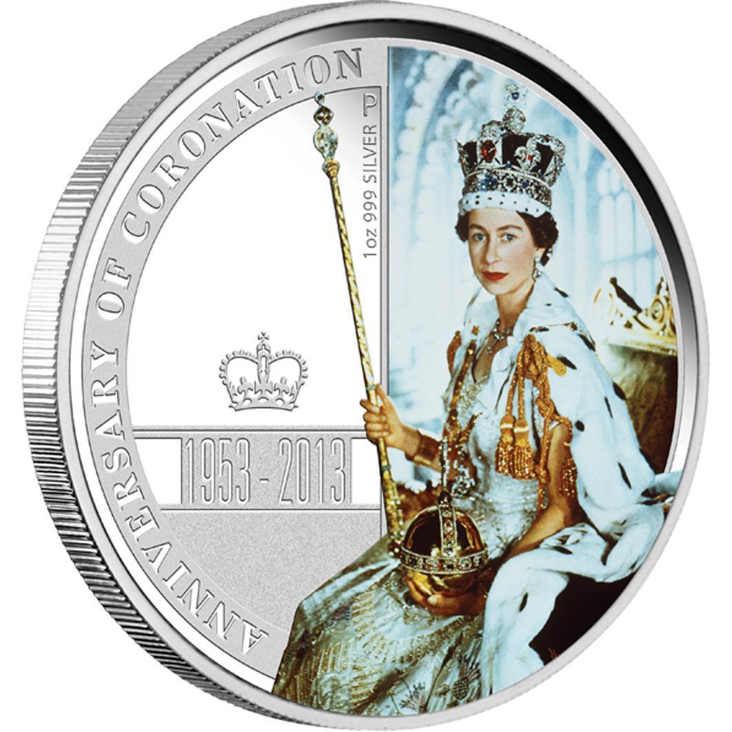 Stříbrná mince - 60. výročí korunovace královny Alžběty II 2013 1OZ PROOF