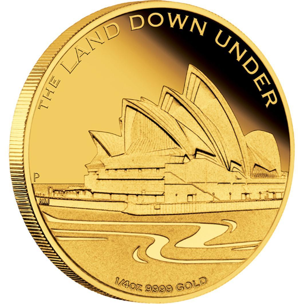 Zlatá mince- SYDNEY OPERA HOUSE 2013 1/4 OZ PROOF - Líc