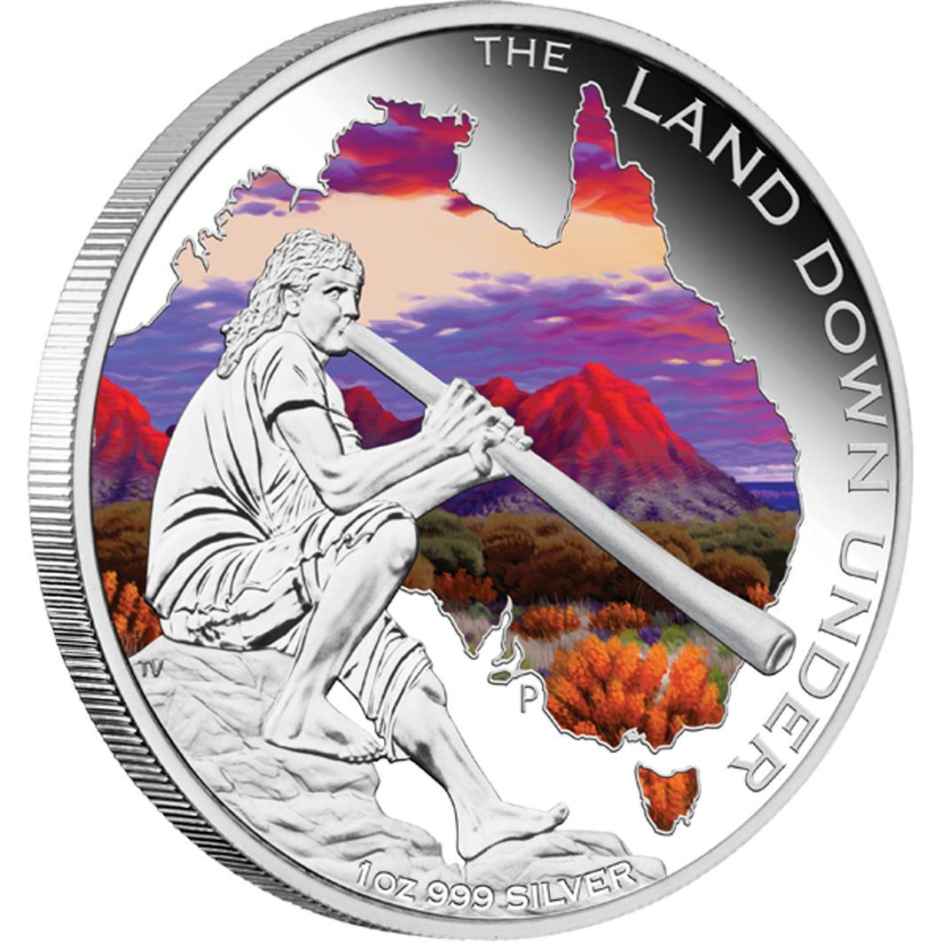 "Stříbrná mince ""The Land Down Under - Didgeridoo 2013"" 1oz Proof - Líc"