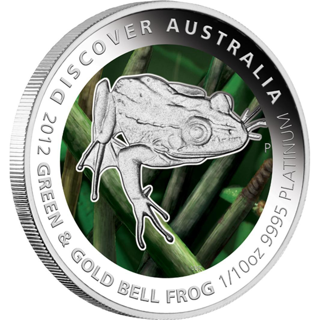 Platinová mince - 2012 Discover Australia - Green and Gold Bell Frog 1/10oz Proof - Líc