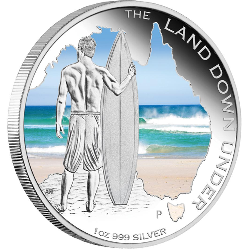 Stříbrná mince Land Down Under - Surfing 2013 1oz - Líc