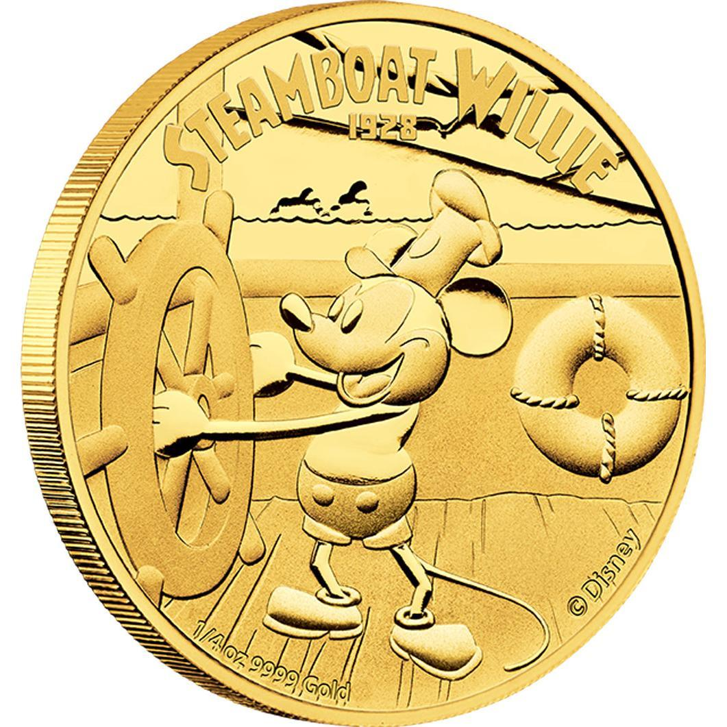 Zlatá mince Disney - parník Willie 2014 1/4Oz  Proof - Líc