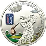 Unikátní stříbrná 3D mince PGA TOUR GOLF CLUB official license 2013 5$ COOK ISLANDS - Líc