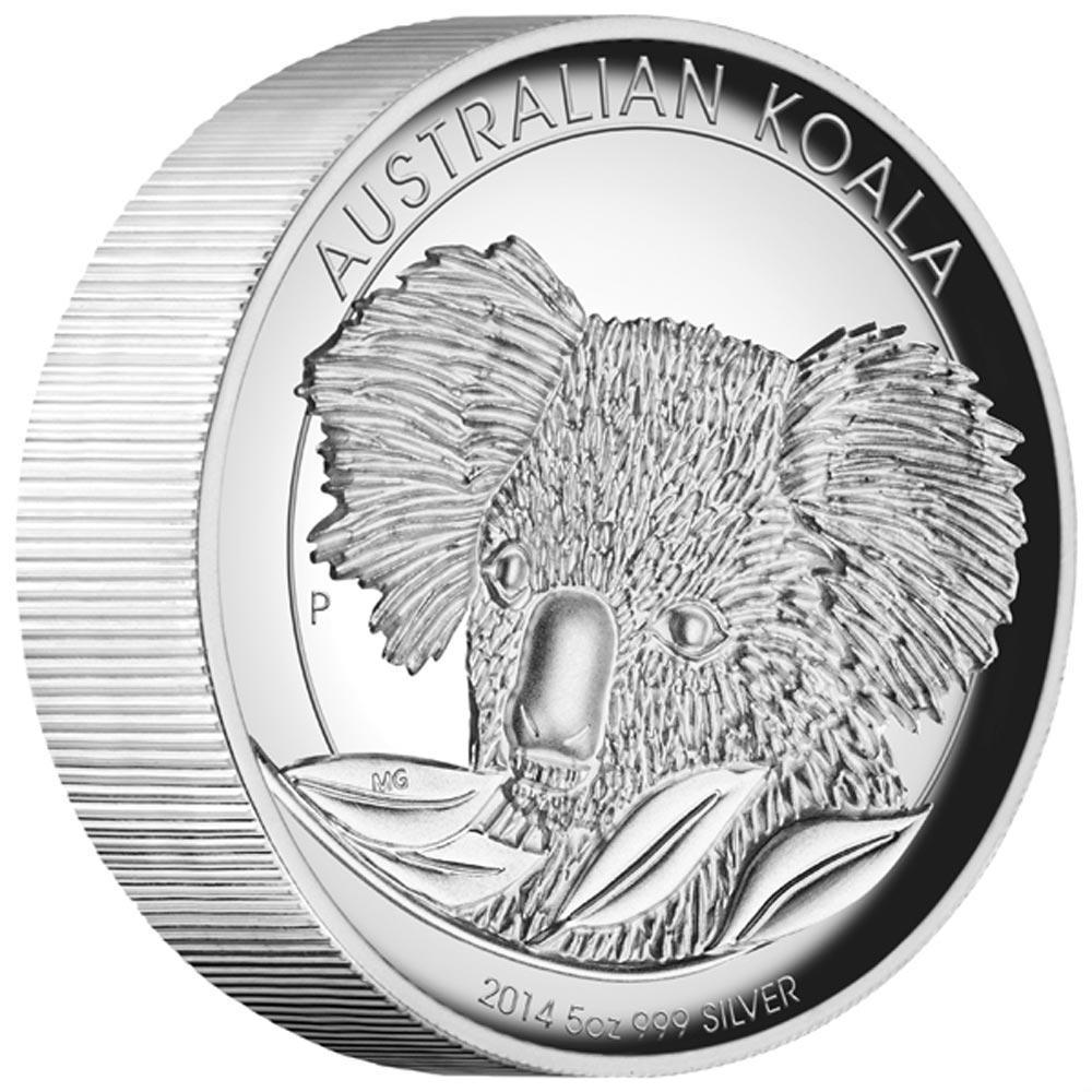 Stříbrná mince Australská Koala 2014 5 oz  Proof High Relief - Líc