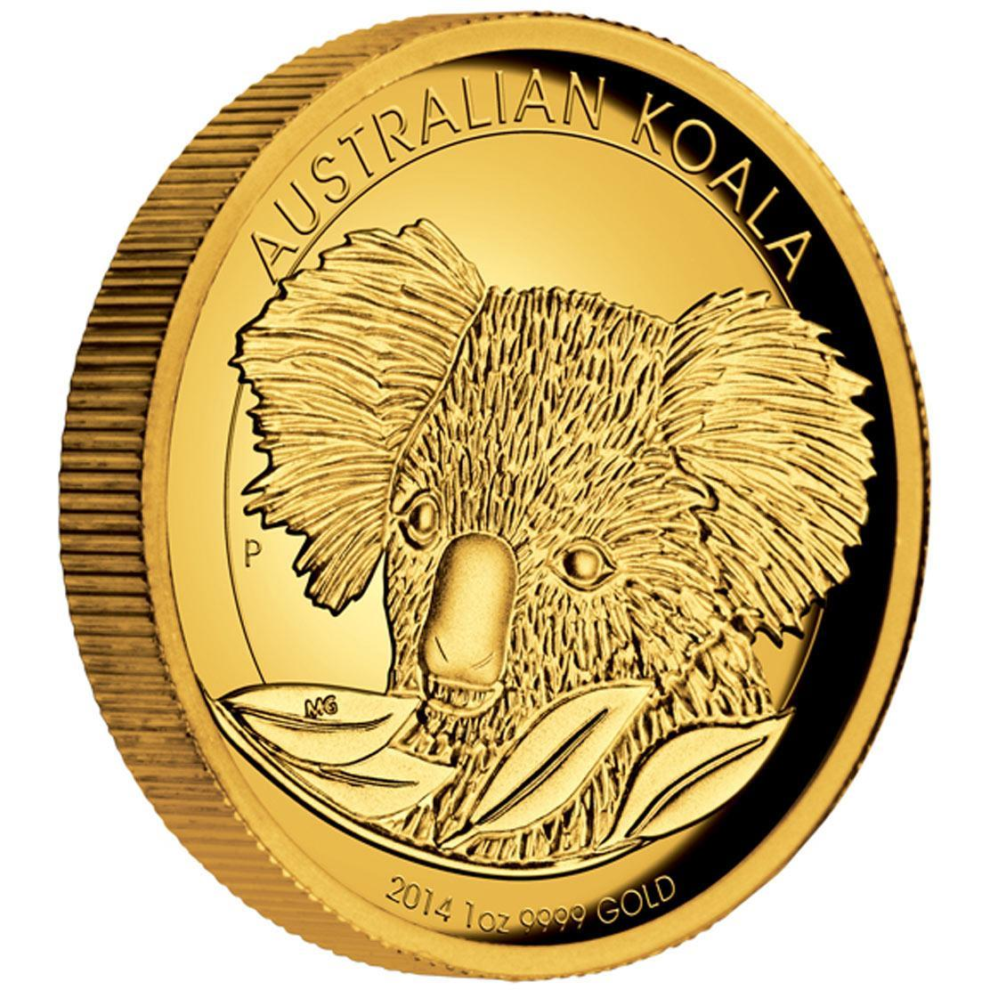 Zlatá mince Australská Koala 2014 1 oz Proof High Relief - Líc