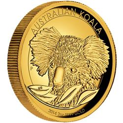 Zlatá mince Australská Koala 2014 2 oz Proof High Relief - Líc