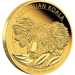 Zlatá mince Australská Koala 2014 1/10 oz Proof High Relief - Líc
