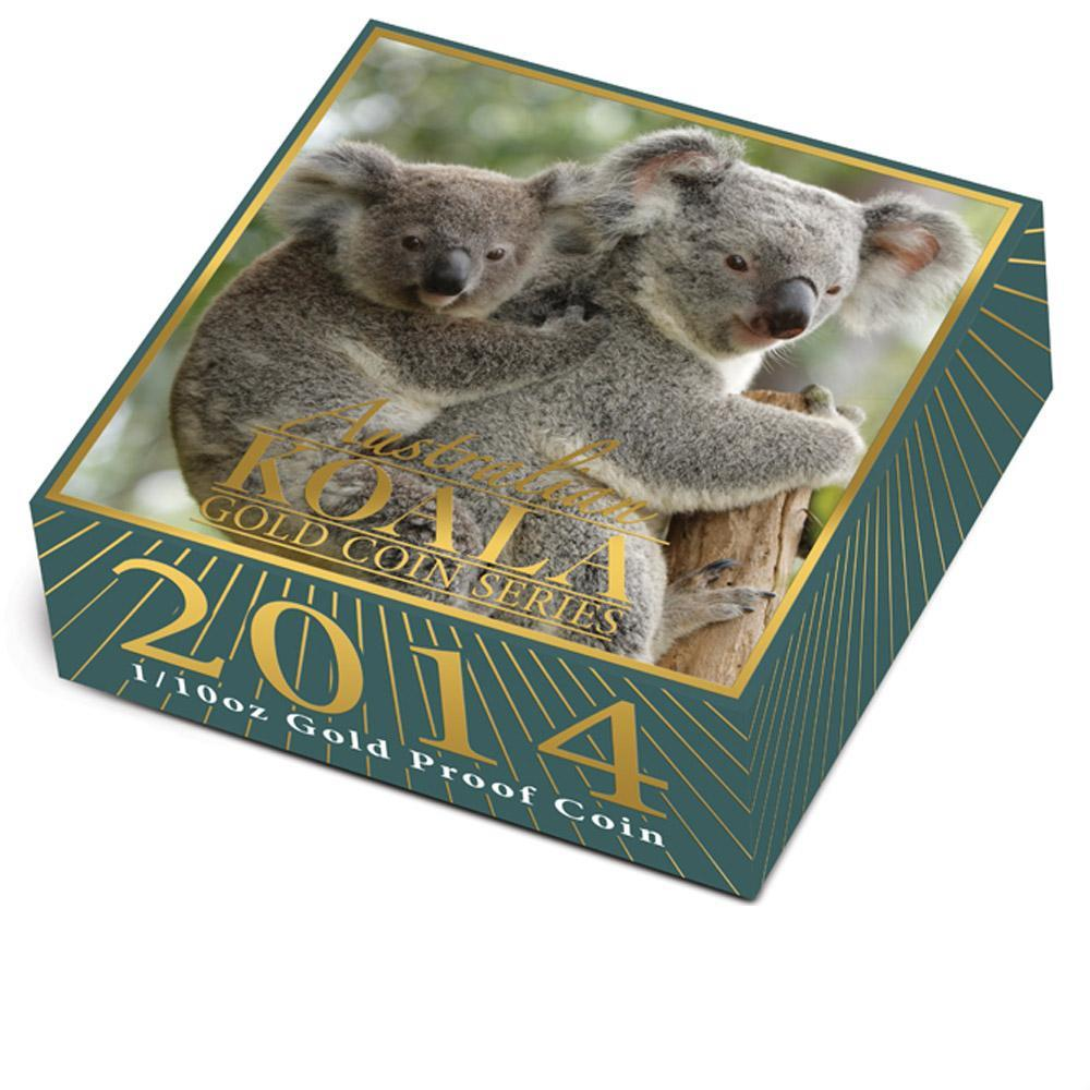 Zlatá mince Australská Koala 2014 1/10 oz Proof High Relief - krabička