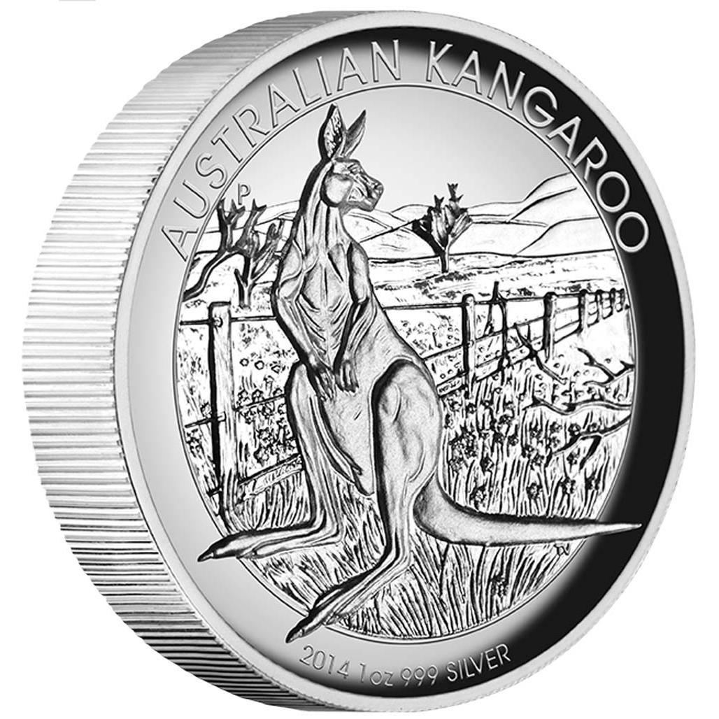 Stříbrná mince australský  Klokan 2014 1oz  Proof High Relief  - Líc