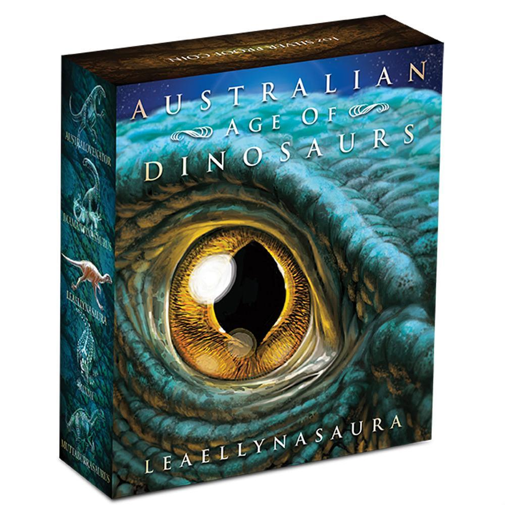 Australian Age of Dinosaurs - Leaellynasaura 2015 1oz Silver Proof Coloured Coin - krabička