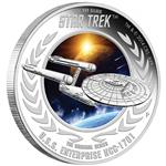 Stříbrná mince Star Trek The Original -  USS Enterprise NCC-1701 Starship 1oz  Proof 2015 - Líc