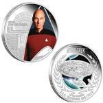 Sada 2 stříbrných mincí Star Trek The Next Generation -  Kapitán Jean-Luc Picard & U.S.S. Enterprice NCC-1701- D  1oz  Proof 2015 -Líc