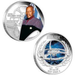 Sada 2 stříbrných mincí Star Trek: Deep Space Nine -  Kapitán Benjamin Sisko & Deep Space 9  1oz  Proof 2015 - Líc