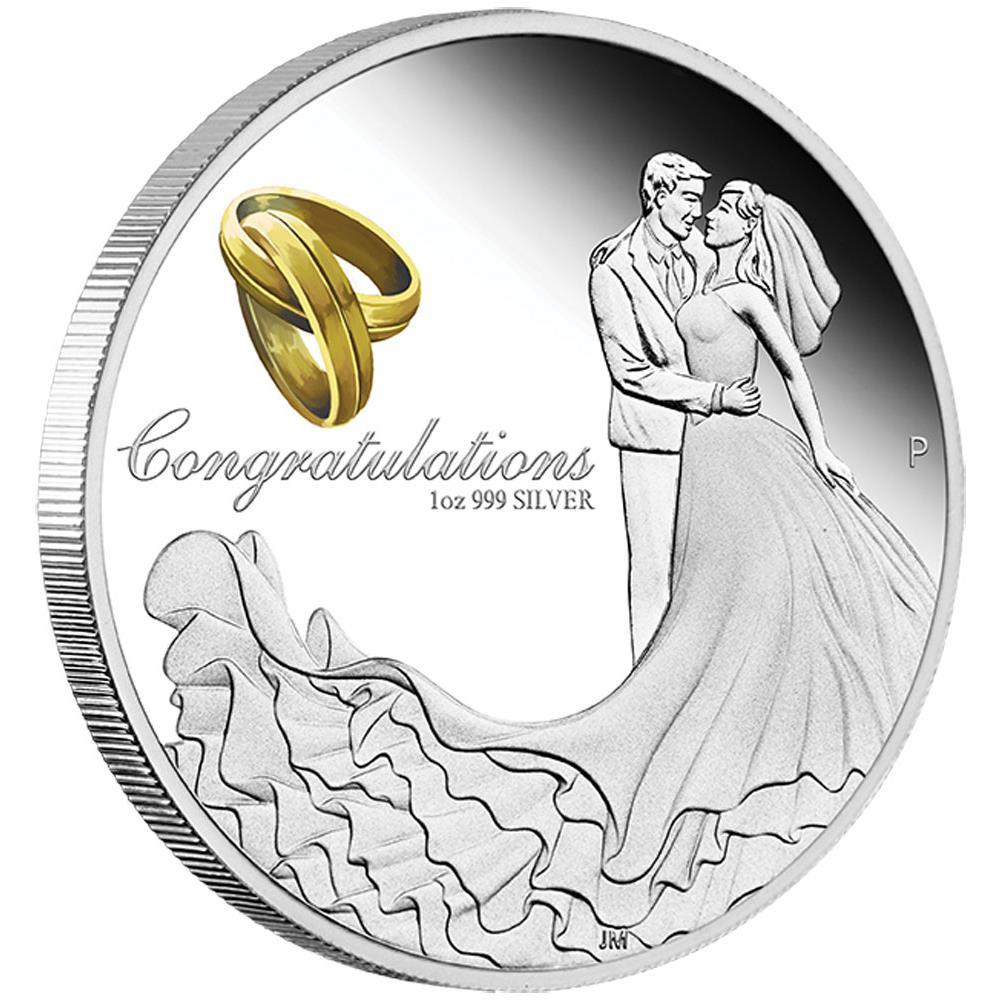 Stříbrná mince Svatba, Wedding 2016  1 oz  Proof  - Líc