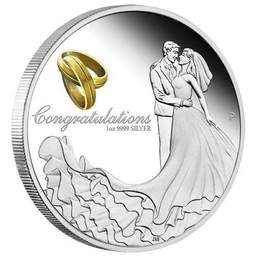 "Stříbrná mince ""Wedding 2017"" 1 OZ Proof - Svatba 2017