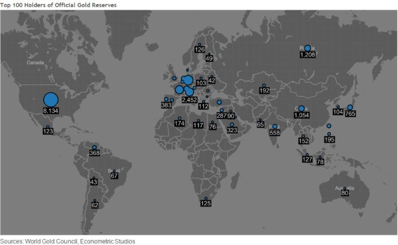 Mapa - oficiální zlaté rezervy - TOP 100