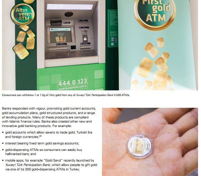 Kuveyt Türk má jako první na světě síť 300 bankomatů, které kromě normálních bankovek vydávají i zlaté mince